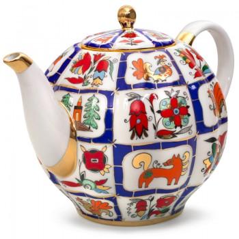 Чайник доливной форма Тюльпан рисунок Русский лубок