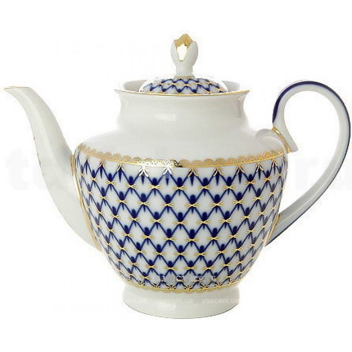 Чайник заварочный форма Весенняя рисунок Кобальтовая сетка
