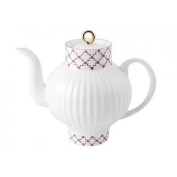 Чайник заварочный форма Волна рисунок Розовая сетка