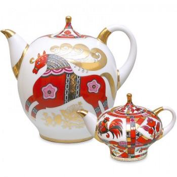 Комплект чайников форма Новгородский рисунок Красный конь