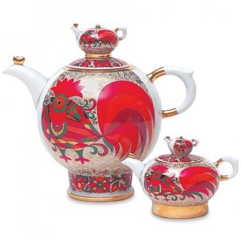 Комплект чайников форма Семейный рисунок Красный петух