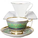 Чашка с блюдцем чайная из твердого и костяного фарфора