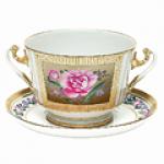 Чашка с блюдцем бульонная из твердого фарфора