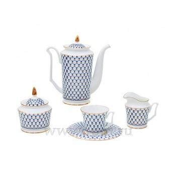 Сервиз кофейный форма Юлия рисунок Кобальтовая сетка 6 персон 15 предметов