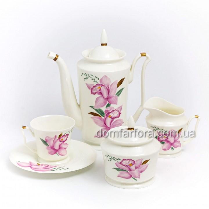 Сервиз кофейный форма Юлия рисунок Нежная орхидея 6 персон 15 предметов
