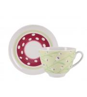 Чашка с блюдцем форма Весенняя рисунок Весенний бриз