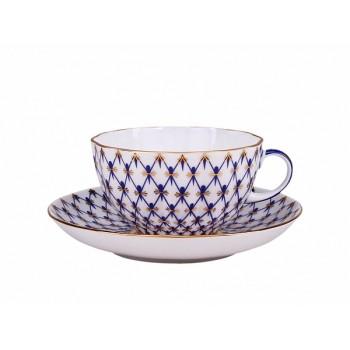 Чашка с блюдцем Купольная Кобальтовая сетка 300 мл