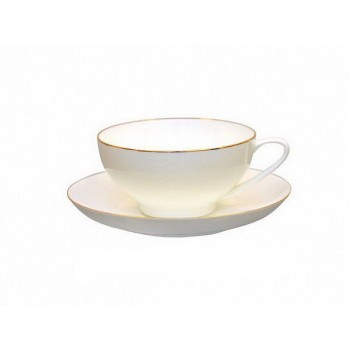 Чашка с блюдцем чайная форма Купольная рисунок Золотая лента