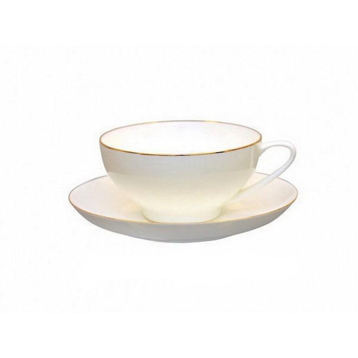 Чашка с блюдцем форма Купольная рисунок Золотая лента