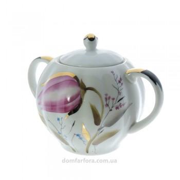 Сахарница форма Тюльпан рисунок Розовые тюльпаны