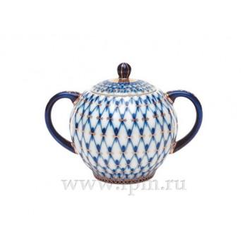 Сахарница форма Тюльпан рисунок Кобальтовая сетка