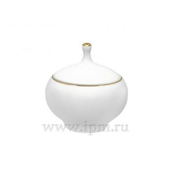 Сахарница форма Яблочко рисунок Золотой кант