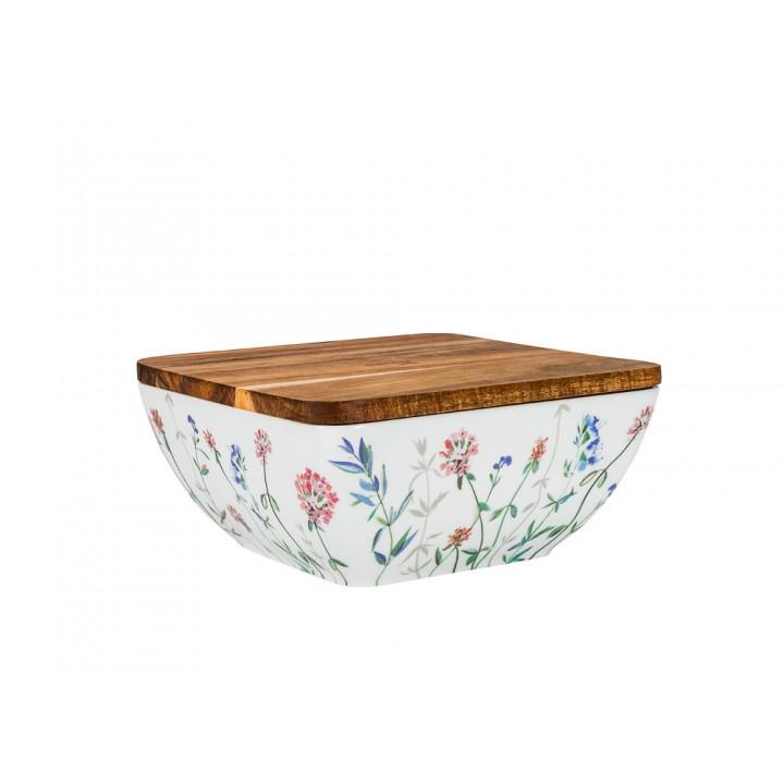 Салатник с деревянной крышкой форма Стандартная рисунок Травы