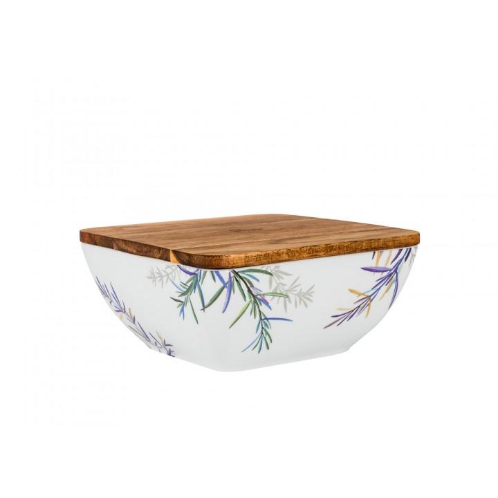 Салатник с деревянной крышкой форма Стандартная рисунок Розмарин