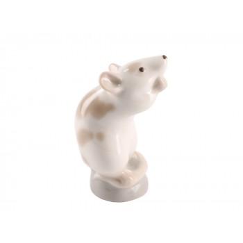 Скульптура Мышь белая Кремовая