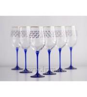 Набор из 6-ти Бокалов для вина рисунок «Кобальтовая сетка» 390мл
