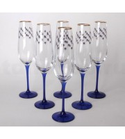 Набор из 6-ти Бокалов для шампанского рисунок Кобальтовая сетка 200 мл