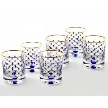 Набор из 6-ти Бокалов для виски рисунок «Кобальтовая сетка» 250мл