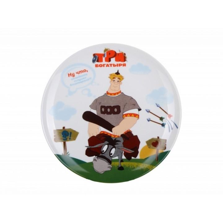 Декоративная тарелка форма Эллипс рисунок Три богатыря Алеша Попович: идеальный подарок