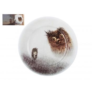 Декоративная тарелка рисунок Ежик и филин