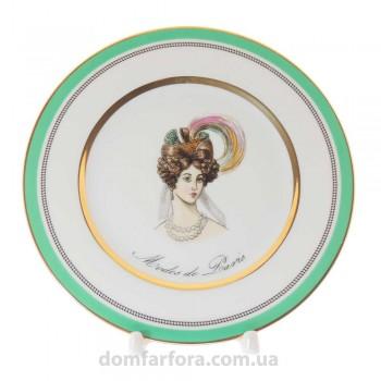 Тарелка плоская 18 см форма Европейская рисунок Modes de Paris (зеленый)