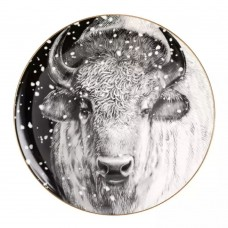 Тарелка декоративная 300 мм форма Эллипс рисунок Тотем.Бизон