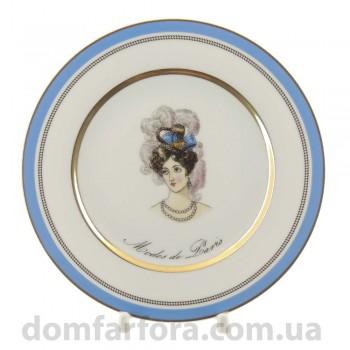 Тарелка плоская 18 см форма Европейская рисунок Modes de Paris (синий)
