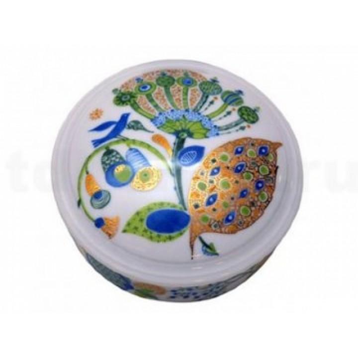 Туалетная коробочка форма «Круглая» рисунок «Весенние листья»