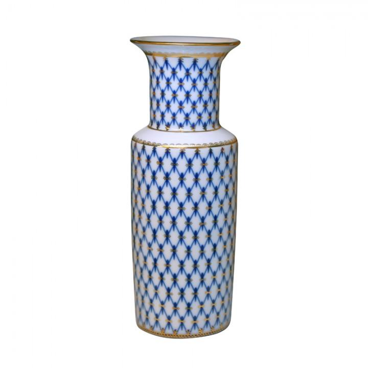 Ваза для цветов форма Цилиндрическая рисунок Кобальтовая сетка