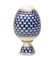 Яйцо Пасхальное на подставке Кобальтовая сетка 132 мм